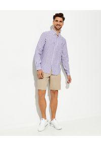 Ralph Lauren - RALPH LAUREN - Lniana koszula w prążki Custom Fit. Typ kołnierza: button down, polo. Kolor: biały. Materiał: len. Wzór: prążki #5