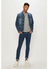 Niebieska kurtka Calvin Klein Jeans na co dzień, bez kaptura, casualowa
