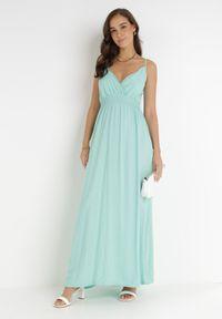Born2be - Miętowa Sukienka Cadole. Kolor: miętowy. Materiał: bawełna. Długość rękawa: na ramiączkach. Typ sukienki: kopertowe. Styl: wakacyjny. Długość: maxi