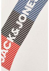 Jack & Jones - Bluza bawełniana. Okazja: na co dzień. Typ kołnierza: kaptur. Kolor: biały. Materiał: bawełna. Wzór: nadruk. Styl: casual #5