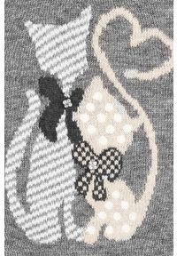 Szara sukienka Mayoral z nadrukiem, z długim rękawem, mini