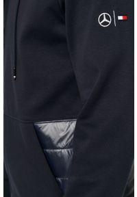 Niebieska bluza rozpinana Tommy Hilfiger Tailored casualowa, z kapturem, na co dzień