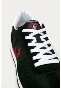 Czarne sneakersy Polo Ralph Lauren z cholewką, z okrągłym noskiem, na sznurówki