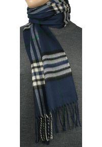 Niebieski szalik V. Fraas elegancki, w kratkę