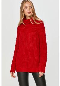 Czerwony sweter Answear Lab na co dzień, z długim rękawem, długi