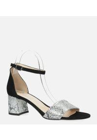 Casu - Czarne sandały skórzane z paskiem wokół kostki na szerokim ozdobnym słupku casu ds-252/a. Zapięcie: pasek. Kolor: srebrny, czarny, wielokolorowy. Materiał: skóra. Obcas: na słupku
