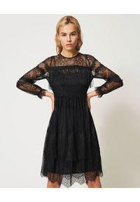 Czarna sukienka mini TwinSet na ramiączkach, w koronkowe wzory