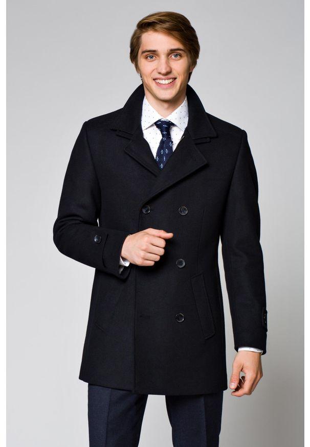 Niebieski płaszcz Lancerto elegancki, z klasycznym kołnierzykiem