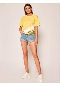 Champion T-Shirt C Logo Ribbed Cuffed 112765 Żółty Regular Fit. Kolor: żółty