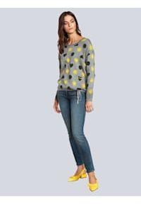 Jeansy ze strasem Oui. Kolor: niebieski. Materiał: jeans. Wzór: haft