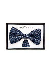Niebieska muszka Lancerto klasyczna, w kwiaty