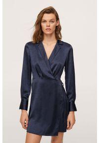mango - Mango - Sukienka Sabrina. Kolor: niebieski. Materiał: włókno. Długość rękawa: długi rękaw. Typ sukienki: rozkloszowane
