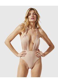 PRAIA BEACHWEAR - Beżowy jednoczęściowy kostium kąpielowy Summertime Sadness. Kolor: beżowy. Materiał: tkanina. Wzór: aplikacja