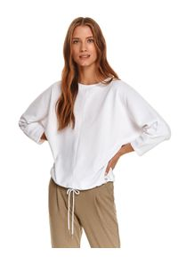 TOP SECRET - Bluza nierozpinana damska gładka. Kolor: biały. Materiał: dzianina, prążkowany. Wzór: gładki