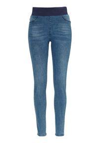 Niebieskie jeansy Freequent z podwyższonym stanem, w kolorowe wzory