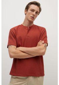 Pomarańczowy t-shirt Mango Man casualowy, krótki