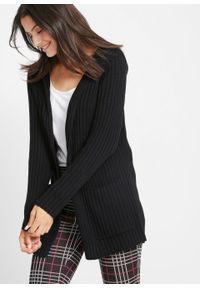 Sweter bez zapięcia z kapturem bonprix schwarz. Typ kołnierza: kaptur. Kolor: czarny. Długość: długie