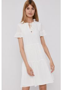 DKNY - Dkny - Sukienka. Kolor: beżowy. Materiał: tkanina. Typ sukienki: rozkloszowane