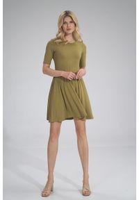 e-margeritka - Sukienka wiskozowa na lato rozkloszowana oliwka - l. Materiał: wiskoza. Sezon: lato. Typ sukienki: rozkloszowane