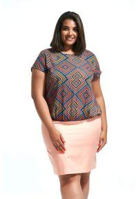 Różowa spódnica Moda Size Plus Iwanek plus size, na lato, na co dzień