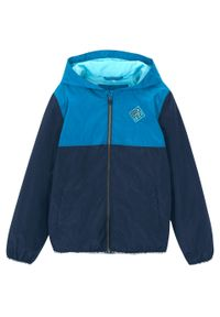 Niebieska kurtka bonprix z aplikacjami, z kapturem, sportowa