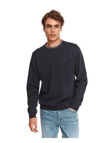 TOP SECRET - Bluza męska nierozpinana z okrągłym dekoltem. Okazja: do pracy, na co dzień. Kolor: niebieski. Materiał: tkanina. Długość: długie. Styl: sportowy, casual