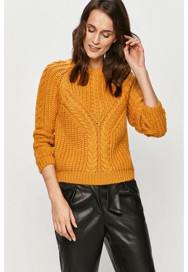 Żółty sweter Answear Lab długi, z długim rękawem, na co dzień