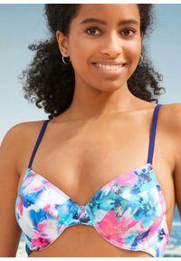 Biustonosz bikini na fiszbinach bonprix biało-jasnoróżowo-niebieski w roślinny wzór. Kolor: biały