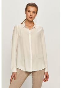 Biała koszula Vila z długim rękawem, długa, z klasycznym kołnierzykiem, na co dzień