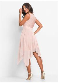 Różowa sukienka bonprix wizytowa, bez rękawów, z dekoltem w serek