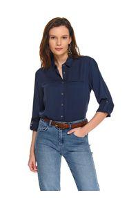 TOP SECRET - Koszula damska gładka z długim rękawem. Kolor: niebieski. Materiał: jeans. Długość rękawa: długi rękaw. Długość: długie. Wzór: gładki. Sezon: wiosna. Styl: elegancki
