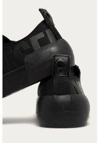 Czarne sneakersy Diesel na sznurówki, z cholewką, z okrągłym noskiem