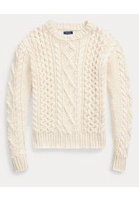 Ralph Lauren - RALPH LAUREN - Beżowy sweter. Okazja: na co dzień. Typ kołnierza: polo. Kolor: beżowy. Materiał: jeans, wełna, bawełna. Wzór: ze splotem. Sezon: wiosna. Styl: casual #5