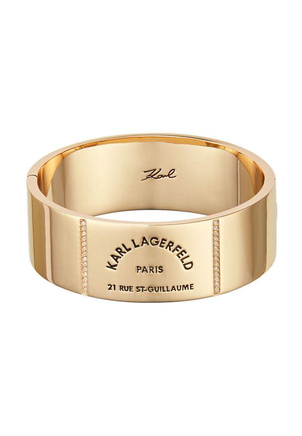 Złota bransoletka Karl Lagerfeld z kryształem, metalowa, z aplikacjami