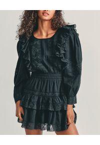 LOVE SHACK FANCY - Czarna sukienka z falbanami Santorini. Typ kołnierza: kołnierz z falbankami. Kolor: czarny. Materiał: bawełna, koronka. Wzór: koronka, aplikacja. Długość: mini