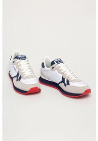 Białe sneakersy Pepe Jeans z okrągłym noskiem, z cholewką, na sznurówki