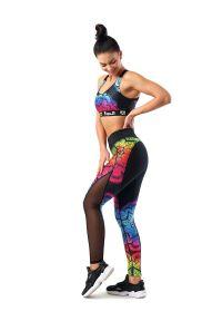 FJ! - Legginsy Mandala. Materiał: poliester, dzianina, skóra, elastan. Wzór: kolorowy. Sport: joga i pilates, fitness, taniec