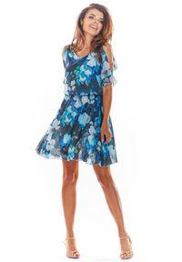e-margeritka - Zwiewna sukienka mini granat - 40. Materiał: tkanina, szyfon, materiał, poliester. Typ sukienki: rozkloszowane. Styl: wakacyjny. Długość: mini