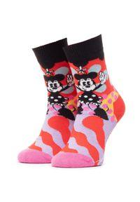 Czerwone skarpetki Happy-Socks w kolorowe wzory