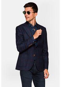 Lancerto - Marynarka Granatowa w Kratę Taiga. Typ kołnierza: golf. Kolor: niebieski. Materiał: jeans, wiskoza, wełna, tkanina, włókno, jedwab, poliamid. Wzór: melanż. Sezon: jesień, zima