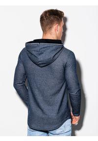Ombre Clothing - Bluza męska z kapturem B1208 - granatowa - XXL. Typ kołnierza: kaptur. Kolor: niebieski. Materiał: poliester, bawełna