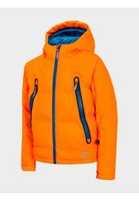 Pomarańczowa kurtka 4f z kapturem, na co dzień