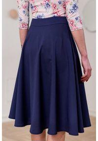 Marie Zélie - Spódnica Carissa wełniana granatowa. Kolor: niebieski. Materiał: wełna