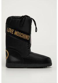Czarne śniegowce Love Moschino na sznurówki, z okrągłym noskiem, z cholewką