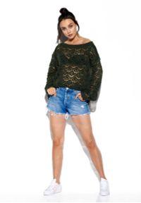 Brązowy sweter oversize Lemoniade w ażurowe wzory