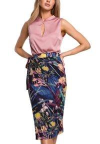 MOE - Ołówkowa spódnica na zakładkę nadruk w kwiaty. Materiał: dzianina, elastan. Wzór: nadruk, kwiaty