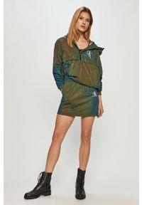 Wielokolorowa kurtka Calvin Klein Jeans z kapturem, gładkie