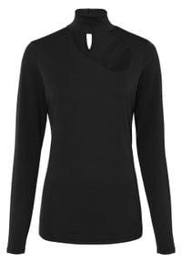 Shirt z długim rękawem bonprix czarny. Kolor: czarny. Długość rękawa: długi rękaw. Długość: długie