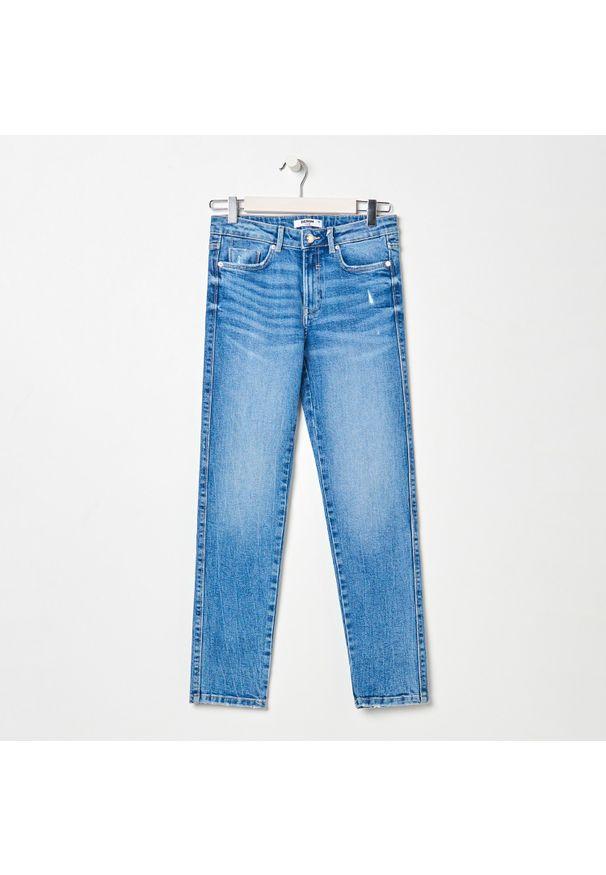 Sinsay - Spodnie jeansowe damskie - Niebieski. Kolor: niebieski