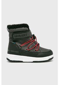 Szare buty zimowe Moon Boot na zimę, z cholewką
